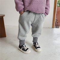 2021 Inverno Novo desgaste crianças pelúcia e calças espessadas do bebê calças de jardim de infância ~