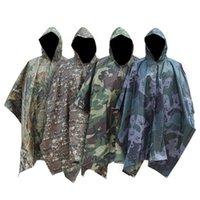 캠핑 비 케이프 위장 후드가없는 비옷 하이킹 사냥 빗 코트 망토 썬 피난처 그라운드 피크닉 매트 다기능 Outwear YFA923