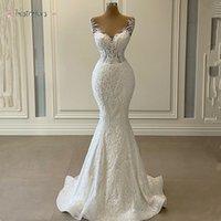 Luxury 3D Lace Mermaid Wedding Dress 2021 Romantic Beads Tulle Neck Wedding Bridal Gowns Robe de Mariage 2021 BJ01