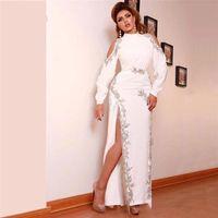 Sexy Split Abendkleider Silber Applikationen Perlen High Neck Prom Kleider Vestide Fiesta Cut-out Full Sleeves Dubai Robe de Soiree