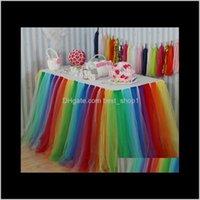Bunte Regenbogen Tüll Runde Gefälligkeiten Party Baby Dusche Dekoration Hochzeitsschild in Tabellenrock Home 7AXXL YQKEH