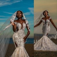 2021 African Mermaid Wedding Dresses Jewel Neck Cap Sleeves Lace Appliques Crystal Beads Sheer Illusion Champagne Sweep Train Dubai Vestidos Formal Bridal Gowns