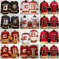 Retro retro calgary llamas 19 Matthew Tkachuk Jersey Hockey Hielo 13 Johnny Gaudreau 5 Mark Giordano 23 Sean Monahan 00 Equipo en blanco negro rojo blanco cosido bueno