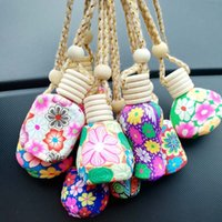 Perfume Bottle Polymer Clay Empty Perfume Glass Essential Oils Diffusers Fashion Car Pendant Car Hanging Ornament Packing Bottles DH8522