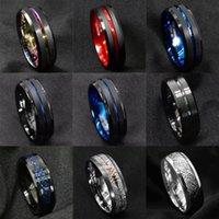 ファッション8mmメンズブルーグルーブ斜めエッジタングステンカーバイドリングブラックセルティックドラゴンカーボンファイバーメンズウェディングバンドリング