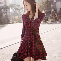 Casual Dresses Women Plaid Shirt Dress Autumn Elegant Long Sleeves Office Lady Buttons Lace Up Female Lapel Slim A Line
