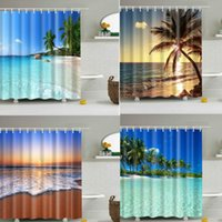 Shower Curtains Blue Sky Beach Curtain Modern Scenery Print Bathroom 3D Blackout Large 180x200cm For Cortina