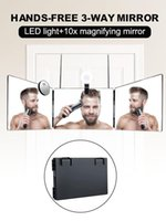 Mirrors Home 3-Way Mirror For Self Hair Cutting 360 Degrees Foldable With USB Rechargeable LED Light & 10x Magnifier Makeup
