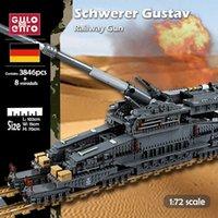 Gulo Gulo 3846pcs WW2 Военные тяжелые танковые Блоки строительные блоки Густав немецкий железнодорожный пистолет Дора кирпича набор моделей малыш DIY игрушка для подарков H0917