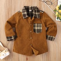 Boys Plaid Pocket Long Sleeves Shirts Fall 2021 Latest Kids Boutique Clothing 2-6T Children Tops Euro America Gentleman Clothes INS