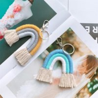 DHL ship Weaving Raiow Keychains Boho Key Holder Keyring Macrame Bag Charm Car Hanging party favors