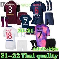 Paris 2021 Icardi Marquinhos Mbappe Fourth Soccer Jersey 20 21 22 Verratti Kean Maillots de Futebol Camisa Enfants Kit Uniformes Adulto Crianças Conjunto + Meias