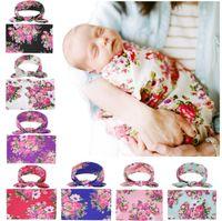 Babydecken Bunny Ear Stirnbänder Neugeborenen Swaddling Set Floral Swaddle Wrap Infant Fotografie Requisiten 7 Designs DW5117