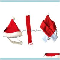 Decorations Festive Party Supplies Home & Gardenfashion Lovely 2Pcs Set Pet Cat Dog Santa Hat + Scarf Christmas Xmas Red Holiday Costume App