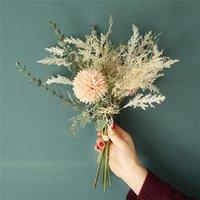 Flores artificiais Dente de leão de seda plástico Eucalyptus híbrido buquê de casamento de casamento mesa de mesa Casa Deocr Fake Flower Flor Decorativa WR