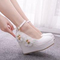 웨지 힐 레이스 꽃 아름다운 결혼식 신발 큰 크기 플랫폼 라운드 발가락 하이힐 펌프 버클 스트랩 신부 들러리 신발