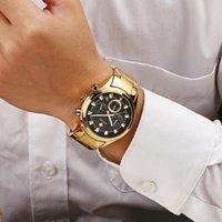 Armbanduhren Männer Uhren 2021 Luxus Wwoor Uhr Gold Schwarz Quarz Uhr Chronograph Sport Wasserdichte Armbanduhr Mens Relogio Masculino