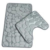 Badematten 2 teile / satz Trichter Kopfsteinpflaster Badezimmer Anti-Rutsch-Teppichmatte mit weichem Material 3d für Toilette