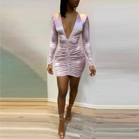 Casual Dresses Women Sexy Fashion Elegant Stylish Cocktail Slim Fit Party Mini Ladies Deep V-Neck Ruched Design Bodycon Dress