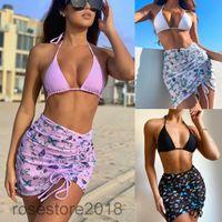 Designer stil heißer verkauf bikini badeanzug neue frauen split badeanzug drei stück sets mode sexy sling bh bh slise kurze rockanzug