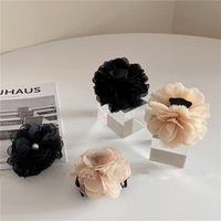 Hair Accessories Pearl Lace Chiffon Big Flower Hairpin Acrylic Claw Clips Size Makeup Styling Barrettes For Women