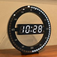 Wall Clocks Desktop Table Clock Creative Mute Hanging Black Circle Automatically Adjust Brightness Digital Led Display