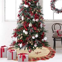 Christmas Tree Skirt Decorations Christmas Linen Plaid Tree Skirt 120cm Xmas Tree Bottom Apron Decoration w-00936