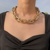 Punk Chain Choker Necklaces Collar Hip Hop Chunky Chokers Gold Color Thick Chain Statement Necklace for Women Men Jewelry Gift 2PCS Lot
