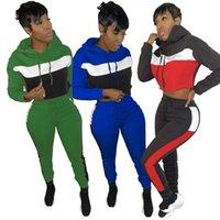 Plus Size S-2XL Trainingsanzüge Patchwork Casual Hooded Two Piece Set Frauen Langarm Sporty Loungewear Hoody und Joggingpant Club Outfit