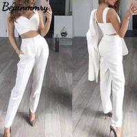 Women's Two Piece Pants Women 3 Pieces Suits Blazer Coat Pant Top Summer Single Button Sling Breathable Turndown Collar Office Lady Jacket D