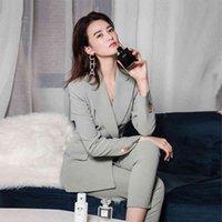 Elegante Büroarbeit Tragen Hose Anzüge OL 2 Stück Sets Solide Blazer Jacke Hosenanzug für Frauen Set Femme 210419