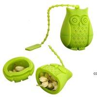Silicona búho herramientas de té colador bolsas lindas de grado alimenticio creativo de hoja suelta infusor filtro difusor accesorios diversión DHE7025
