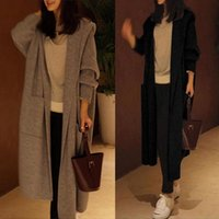 Women Sweater Knitted Hooded Coats Long Sleeve Cardigan Casual Loose Outwear Top Pockets Big Size Solid Thin Sweaters Ladies Women's Trench