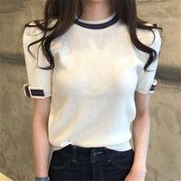 الصيف اللون المحظورة الكورية محبوك القمم القمصان النساء ربطة الأكمام س الرقبة عارضة الأزياء تيز بلايز النساء الملابس 210515