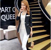 Women's Suits & Blazers Women Casual Black White Blazer Jacket Fashion Cuff Folds Slim Office Lady Autumn Coat Female
