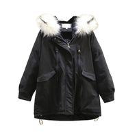 Plus Size Outerwear & Coats Winter Fleece Parka Women Padded Jacket Fur Collar Hooded Down Cotton Coat Warm Fashion Loose Clothes 2021