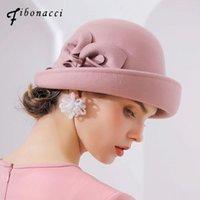 Fibonacci 2018 nouvelle qualité de marque bride floral laine feutre fédoras femme automne hiver chapeaux dôme élégant banquet fedora chapeau
