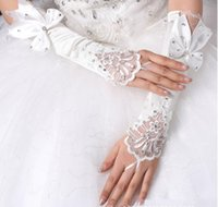 Five Fingers Gloves Women's Long Elastic Beaded Satin Glove Lady's Sunscreen Sexy Fingerless Bow Lace R166