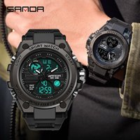 Sanda Men Watch Sport Двойной дисплей Аналоговые цифровые светодиодные электронные наручные часы Montre-браслет налейте на наручные часы Homme