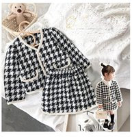 Kids Girls Clothing Set Baby Girl Clothes Plaid Kids Suit Top+Skirt 2pcs Elegant Children Clothing Outfit