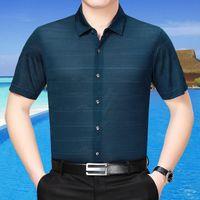 Camisas Casuales de Hombres 200% Seda de verano 2021 Hombre Hombre Ropa de manga corta Hombres de alto grado Fit CAMISA B02-26620 KJ2265
