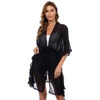 Sarar Ceketler Kadınlar Parti Akşam Dantel Hırka Kadın Düğün Şallar Gelin Plaj Bluz Siyah Illusion Robe Sunscreen Giyim Ile