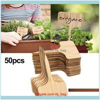 기타 안뜰, 잔디 홈 정원 기타 정원 용품 50pcs 티 타입 대나무 식물 레이블 에코 - 친화적 인 나무 기호 태그 화분에 대 한 마커