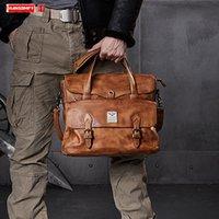 Bolsa masculina Business Business Pasta de Negócios Homens Laptop Bag Vaqueiro Saco de Ombro Retro Sacos Portáteis Novo Primeiro Leather LJ201012