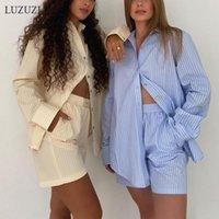 Yaz Rahat Eşofman Kadın Şort Setleri Şerit Uzun Kollu Gömlek Ve Yüksek Bel Iki Parçalı Set 2021 Pantolon Kadın Eşofman Takım Elbise