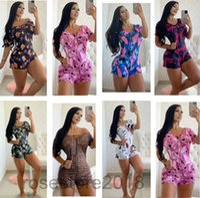2021 autumn women's lace up Jumpsuit print slim sexy short sleeve Jumpsuit pajamas women homewear