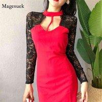 Sexy Mode Aushöhlen Spitze Nähte Halterneck Kleid Für Frauen Herbst Winter Slim Bodycon Mini Hohe Taille Damen 12373 210518