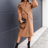 Women's Wool & Blends Fashion Women Overcoat 2021 Autumn Winter Casual Warm Thicken Lattice Long Sleeve Simplicity Solid Color Western Style