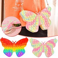 New Butterfly Simple Dimple Chain Cross Bag Fidget Toys Push Bubble Antistress Children Toy Pops Its Keychain Wallet free DHL FAST Shipping