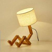 Lampes de table de pliage de robot en bois Creative européen mode étude de la mode Chambre à coucher Lampe de chevet Lampe de linge Lumière WJB41611